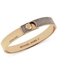 Michael Kors   Metallic Rose-gold Tone Pavé Foldover Bracelet   Lyst