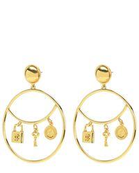 Juicy Couture | Metallic Padlock Charm Hoop Earrings | Lyst
