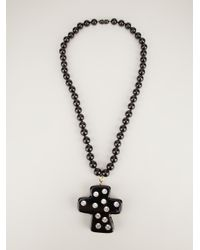 Christian Lacroix | Black Crystal Studded Cross Pendant | Lyst