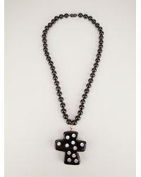 Christian Lacroix - Black Crystal Studded Cross Pendant - Lyst