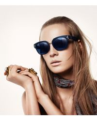 Tory Burch - Brown Metal-trim Matte Sunglasses - Lyst