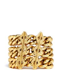 Ela Stone Metallic Paloma Geometric Charm Triple Strand Bracelet