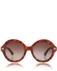 Valentino | Brown Beige Round Stud Detail Sunglasses | Lyst
