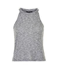 TOPSHOP | Gray Petite High-neck Top | Lyst