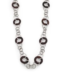 John Hardy Metallic Palu Rose Wood & Sterling Silver Link Station Sautoir Necklace