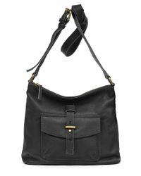 Lucky Brand Black Medine Leather Crossbody Bag