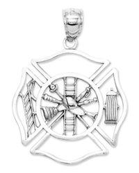 Macy's | 14k White Gold Charm, Fireman Shield Charm | Lyst