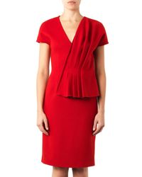 Fendi Red Pleated-Front Wool Dress