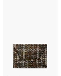Mango - Brown Tweed Flap Clutch - Lyst