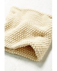 Urban Outfitters White Seed Stitch Funnel Scarf