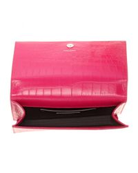 Saint Laurent Pink Classic Monogramme Embossed Leather Clutch