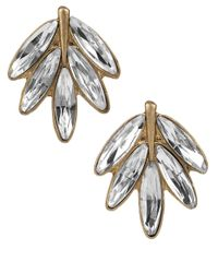 Sam Edelman | Metallic Velvet Stone Feather Stud Earrings | Lyst
