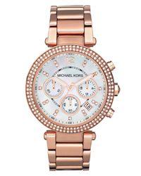 Michael Kors | Pink Women'S Chronograph Parker Rose Gold-Tone Stainless Steel Bracelet Watch 39Mm Mk5491 | Lyst
