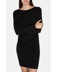 Karen Millen Black Fringed Tweed Dress