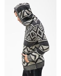 Forever 21 - Black Geo Pattern Knit Hoodie for Men - Lyst