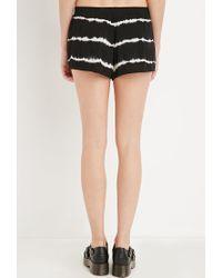 Forever 21 - Black Tie-dye Striped Shorts - Lyst