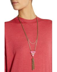Lulu Frost - Pink Gold-Plated Swarovski Crystal Necklace - Lyst