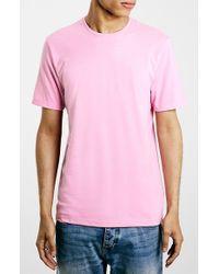 TOPMAN - Pink Slim Fit Crewneck T-Shirt for Men - Lyst