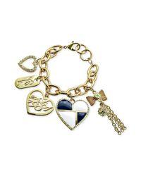Guess | Metallic Goldtone Heart and Logo Charm Bracelet | Lyst