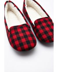 Forever 21 - Red Gingham Faux Shearling Slippers You've Been Added To The Waitlist - Lyst