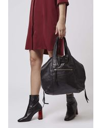 TOPSHOP - Black Casual Leather Tote Bag - Lyst
