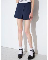 Pixie Market - Blue Navy Cross Over Shorts - Lyst