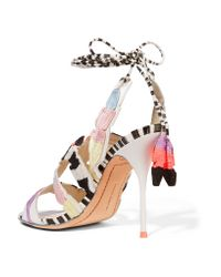 Sophia Webster White Carrie Embroidered Printed Leather Sandals