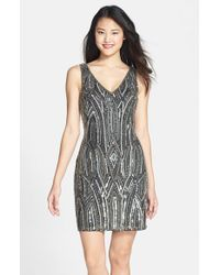 Adrianna Papell | Black Embellished Sheath Dress | Lyst