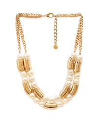 Forever 21 | Metallic Layered Faux Pearl Necklace | Lyst
