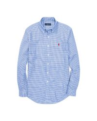 Polo Ralph Lauren | Blue Gingham Cotton Twill Shirt for Men | Lyst