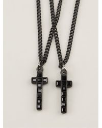 DSquared² | Black Double Cross Necklace for Men | Lyst
