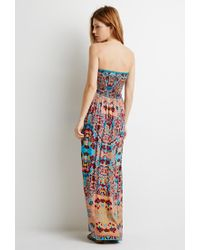 Forever 21 - Blue Contemporary Strapless Floral Print Dress You've Been Added To The Waitlist - Lyst