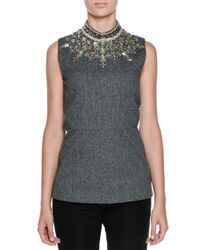 Marni - Gray Crystal-embellished Mock-neck Top - Lyst