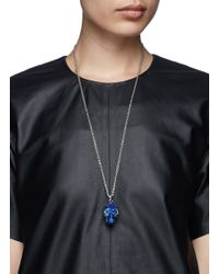 Alexander McQueen - Blue Stripe Skull Necklace - Lyst