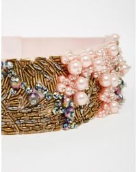 ASOS Pink Co-ord Pearl And Bead Embellished Waist Belt