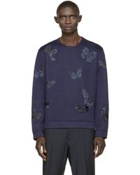 Valentino | Blue Navy Butterfly Structured Pullover for Men | Lyst