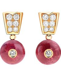 BVLGARI | Serpenti 18ct Pink-gold, Rubellite And Diamond Earrings | Lyst
