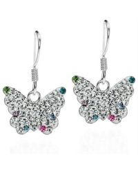 Aeravida - Metallic Cute White Butterfly Cz Flutter .925 Silver Dangle Earrings - Lyst