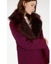 Warehouse Purple Extreme Faux Fur Collar Coat