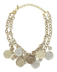 Kenneth Jay Lane | Metallic 22Kt Gold Plated Coin Charm Necklace | Lyst