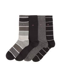 Tommy Hilfiger Black 4 Pack Of Stripe And Solid Socks for men