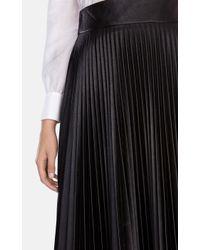 Karen Millen Brown Faux Leather Pleated Skirt
