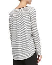 Vince Black Mixed-stripe Linen Slub Top