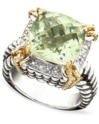 Macy's | 14k Gold And Sterling Silver Ring, Green Quartz (6-1/3 Ct. T.w.) And Diamond Accent | Lyst