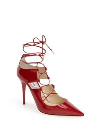 Jimmy Choo | Red 'Hoops' Pump | Lyst