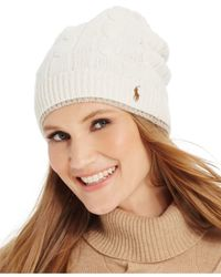Polo Ralph Lauren Natural Two-tone Cable Slouch Hat