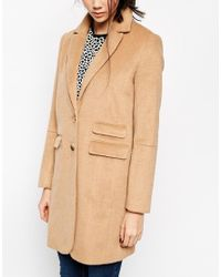 ASOS - Natural Coat With Seam Detail - Lyst