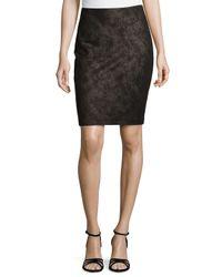 Nicole Miller - Black Foil Twill Ponte Skirt - Lyst