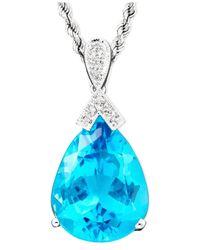 Macy's - 14K White Gold Blue Topaz (18-3/8 Ct. T.W.) & Diamond Accent Pear Pendant - Lyst