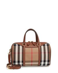Burberry Brown 'medium Alchester' House Check & Leather Satchel